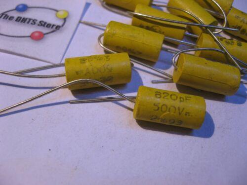 NOS Qty 10 Film Capacitor Plastic 820pF 2/% 500VDC