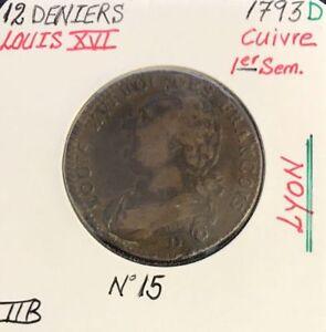 12-DENIERS-LOUIS-XVI-1793D-Piece-de-Monnaie-en-Cuivre-TTB