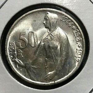 1947 CZECHOSLOVAKIA 50 KORUN BRILLIANT UNCIRCULATED COIN