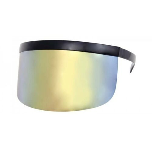 Futuristic Oversize Shield Visor Flat Top Mirrored Mono Lens Sunglasses 172mm