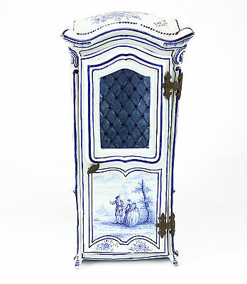Delft Dutch Hand Painted Pottery Miniature Sedan Chair, Early 19th Century