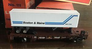 Lionel Trains ~ Flat Car w/ Boston and Maine Trailer ~ #6-36090