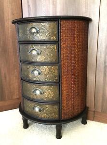 Chinese-Chest-of-Drawers-Storage-Unit-Oriental-Antique-Style-Furniture-Dark-Wood