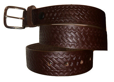 """Boston Leather 6505-3-46 Black Basketweave 1.75/"""" Wide Garrison Belt"""
