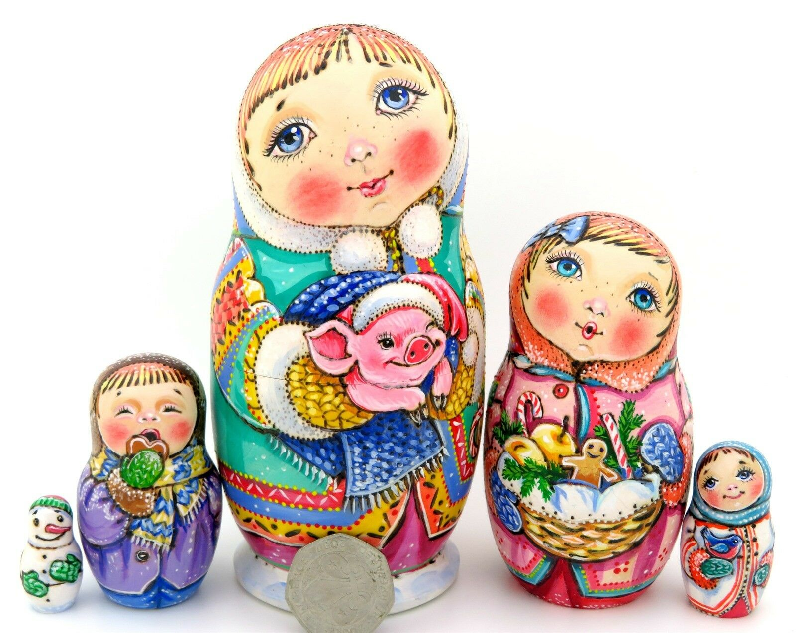 Natale MATRIOSCA chmeleva Anno del Maiale Bambini Bambole Russe a matrioska 5