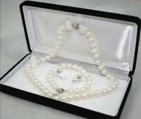 8-9MM White Cultured Pearl Necklace Bracelet Earring Jewelry Set JN73