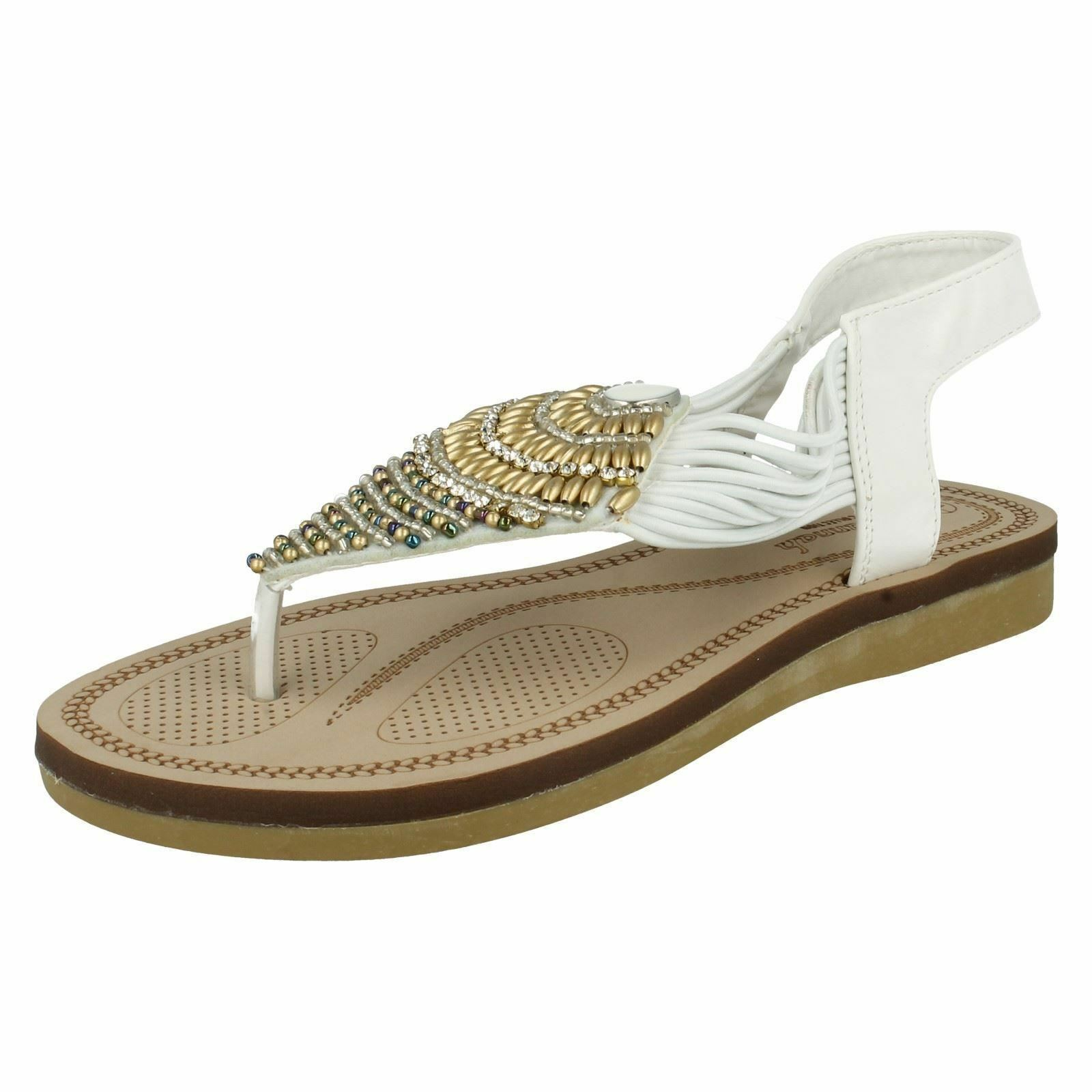 Savannah sandals F0989 Ladies White toe-post sandals Savannah X7  (R25B) 948cce