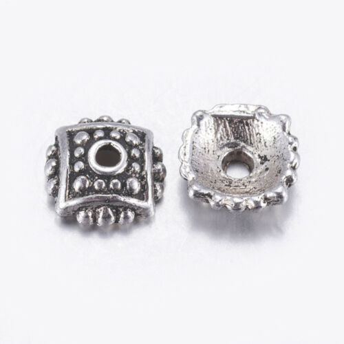 100 Perlkappen ORNAMENT Endkappen Farbe antiksilber für 8mm Perlen #S631