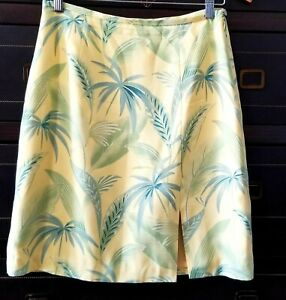 Tommy-Bahama-Womens-Tropical-Print-Straight-Pencil-Skirt-Yellow-Green-Silk-Sz-8