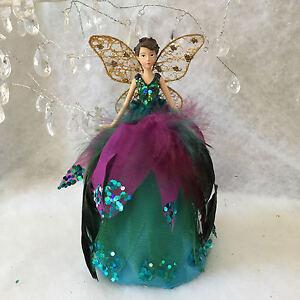 Christmas Tree Fairy Topper Peacock Feathers Gisela Graham Vintage