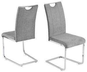 2 X Schwingstuhl Grau Microfaser Stuhlset Freischwinger Modern