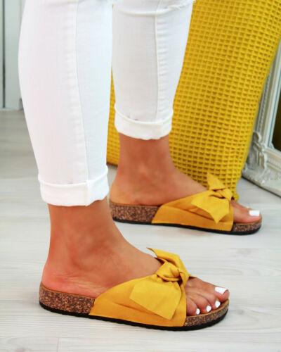 Women Slip On Sliders Bow Flatform Mule Summer Sandals Comfy Shoes Sizes 2.5-11