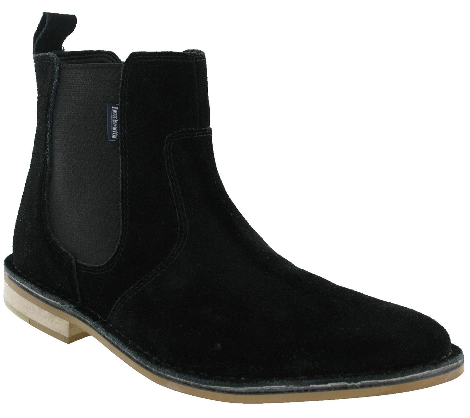 Lambretta Black Chelsea Boots Desert Ankle Suede Leather Dealer Pull On Mens