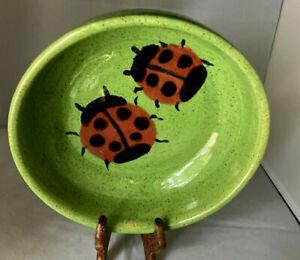 "Grandpa's Pottery Ladybug Bowl 8"" Handmade Original signed RH Microwave Oven ok"