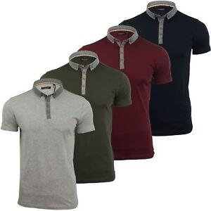 Mens-Polo-T-Shirt-Chimera-Brave-Soul-Denim-Chambray-Collar-Short-Sleeved-Cotton