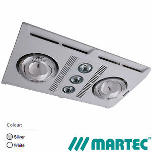 NEW MARTEC Profile Plus 2 Bathroom Heater Exhaust Fan LED Light White Silver