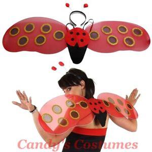Ladybug-WINGS-Antennae-HEADBAND-Ladybird-COSTUME-Fancy-DRESS-UP-Polka-Dot-RED