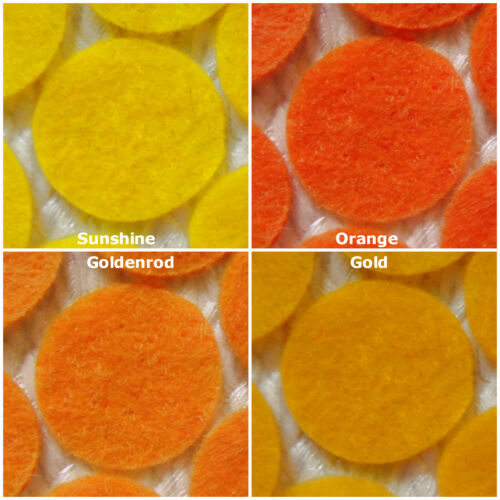 YELLOWS//ORANGES Choose the size Crafts etc Felt Die-Cuts :- Circles