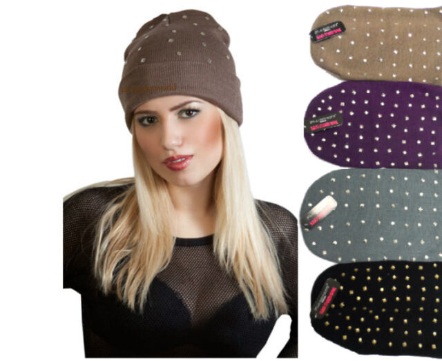 Ladies Diamond Studded Stud Knitted Slouch Beanie Hat Goth Punk Adults Cap