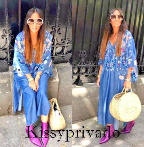 ZARA bluee Multicoloured Embroidered Kaftan Style Dress ONE SIZE M BNWT 0881 055