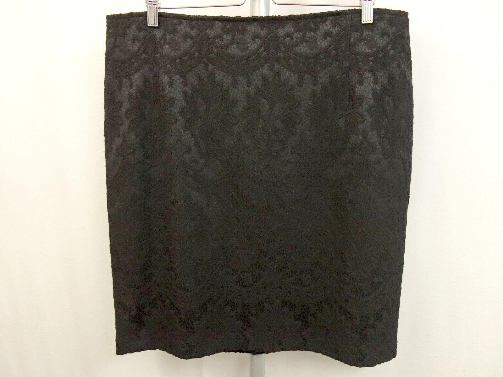 199 NEW Sem Per Lei Skirt Size 44 Skirt Pattern in Lace-Look Black