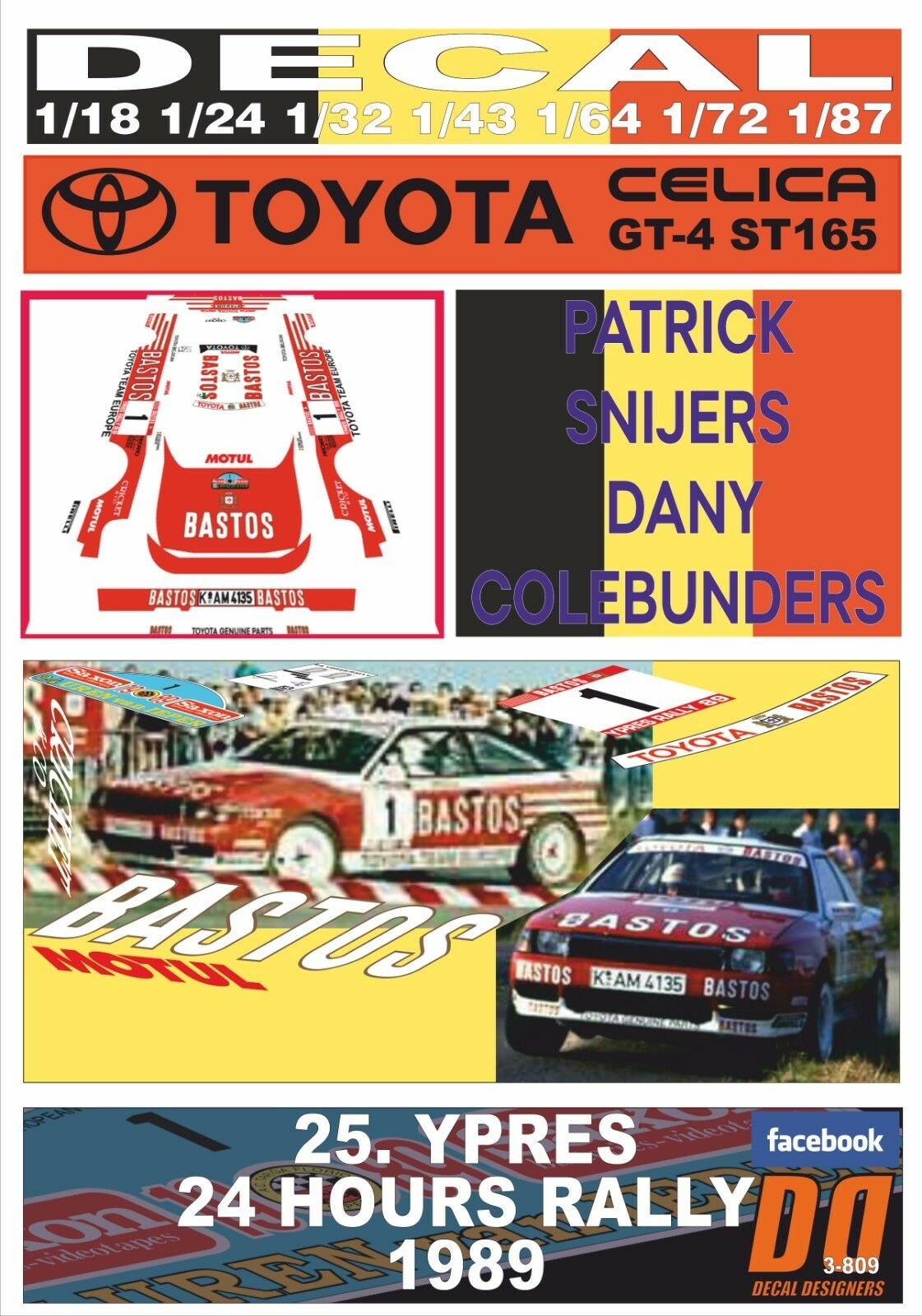 DECAL TOYOTA CELICA GT-4 ST 165  BASTOS    P.SNIJERS YPRES 24 HOURS R. 1989 (08) 131877
