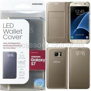 premium selection b9c57 16dae Details about Original SAMSUNG GALAXY S7 LED View Flip Wallet Case Cover  Gold, EF-NG930PFEGUS
