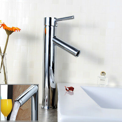 Bathroom Basin Mixer Tap Faucet Single Lever Hot Cold Tall Sink Mono Tap-UK HT