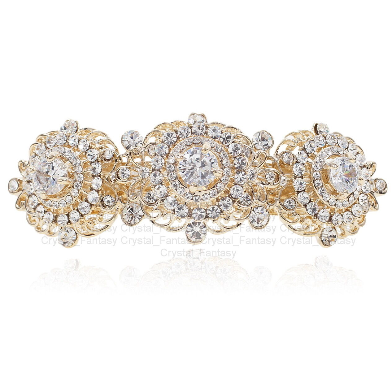 BD05 Elegant Clear S. Crystal Rhinestone CZ Gold Tone Alloy Barrette Hair Clip