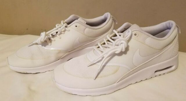 cd800e49aa9ae Nike Air Max Thea Womens 599409-104 All White Textile Running Shoes Size 10