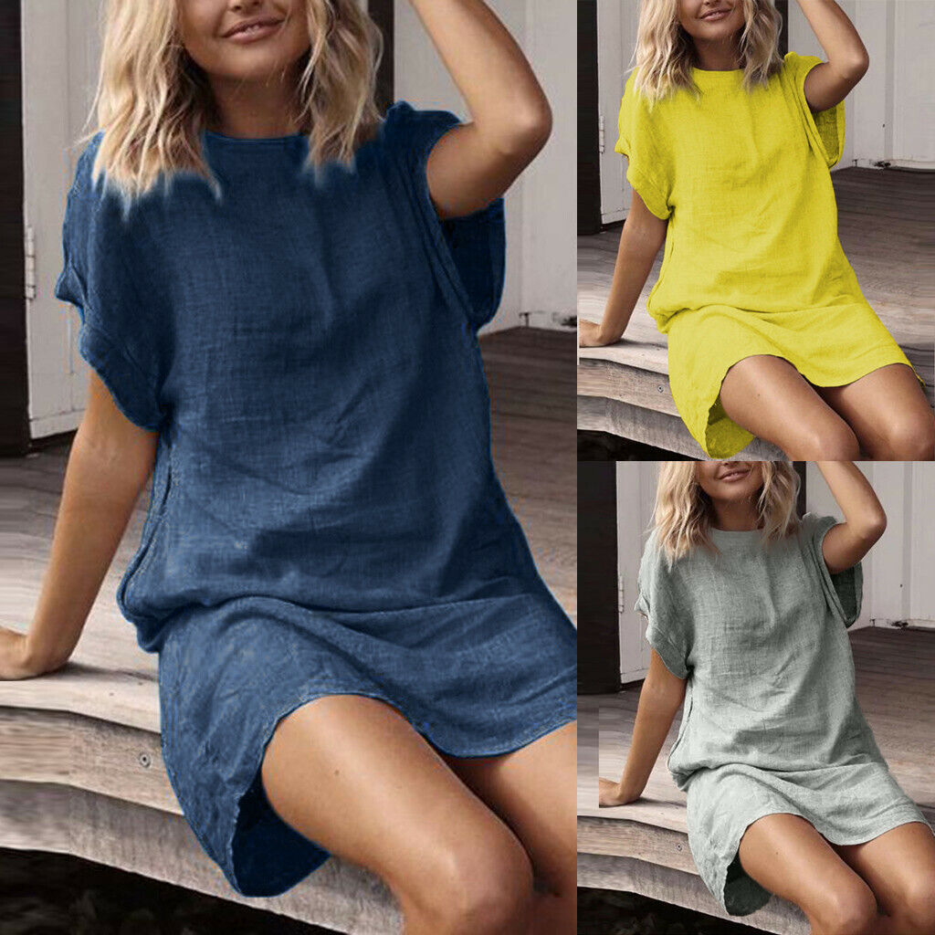 Women Summer Linen Casual Solid Short Sleeve O-Neck Short Straight Dress Beach