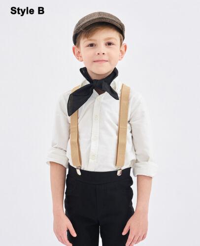 Boys Victorian Boy Colonial Costume Olden Day Child Hat Braces Neckerchief Set