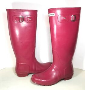 pretty cheap look out for running shoes Details about Hunter Boots Original Tall Pink Rubber Rain Boots Women Size  8M/9F