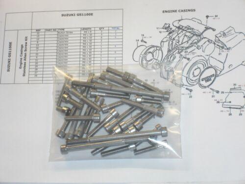 Suzuki GS1100E GS1100 80-83 engine casings 31pc Stainless Steel Allen Bolt Kit