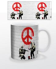SOLDIERS OF PEACE 11 OZ COFFEE MUG BANKSY GRAFFITI STREET ART POLITICAL SOCIAL!!