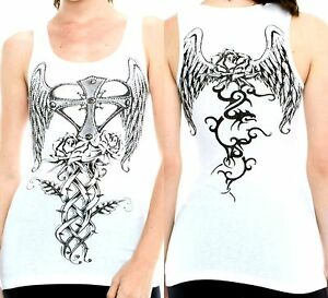 Vocal Top Size S M L XL White Cross Tribal Wings Crystal Bling Womens Shirt New