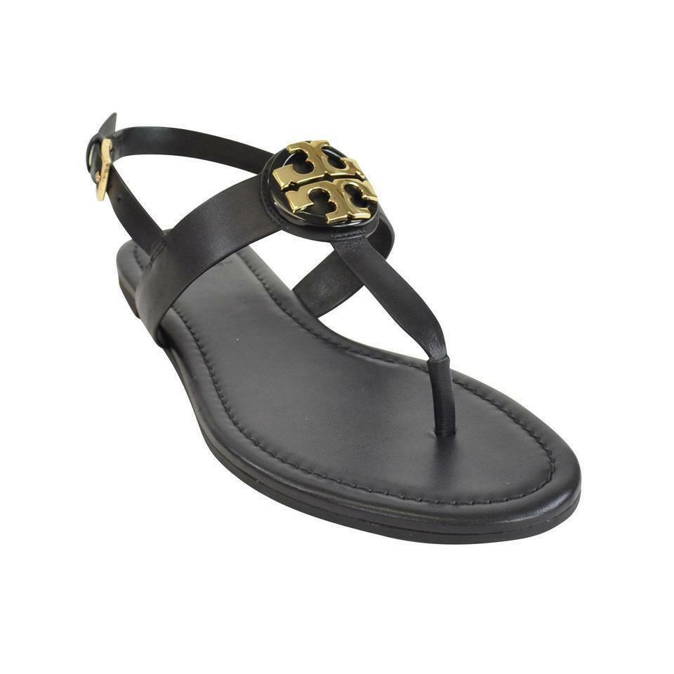 NIB Tory Burch Black Leather BRYCE Flats Thong Sandals 7