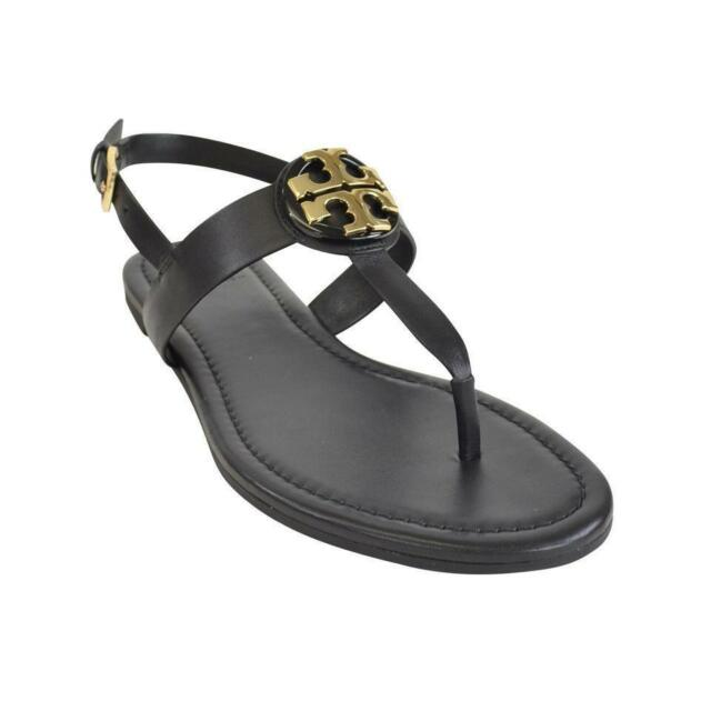 ea0db83ebb7 Tory Burch Bryce Leather Flats Thong Sandals Black Size 7 for sale ...