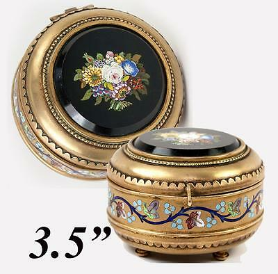 1840-60s Plaque Vivid And Great In Style Enamel Antique Italian Micromosaic Powder Box Grand Tour C