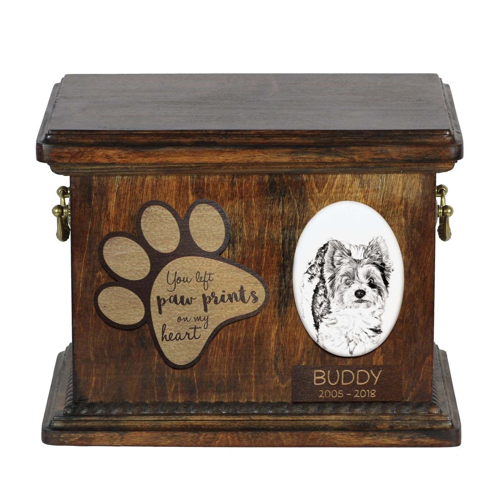 Biewer Terrier  Urn for dog's ashes with ceramic plate and description, Art Dog