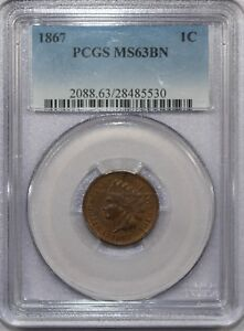 1867-INDIAN-HEAD-CENT-MS63BN-PCGS-034-LOOKS-CLOSER-TO-RB-034-NICE