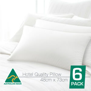 Australian Made 5 Star HOTEL Quality SIX PACK Standard Pillows Cotton Cover