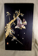Antique Japanese Shibayama Wall Panel Large Signed 19th C Mother of Pearl Inlay