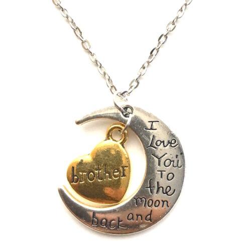 Te amo a la Luna y posterior Oro Y Plata Familia Collar Colgante Corazón Regalo