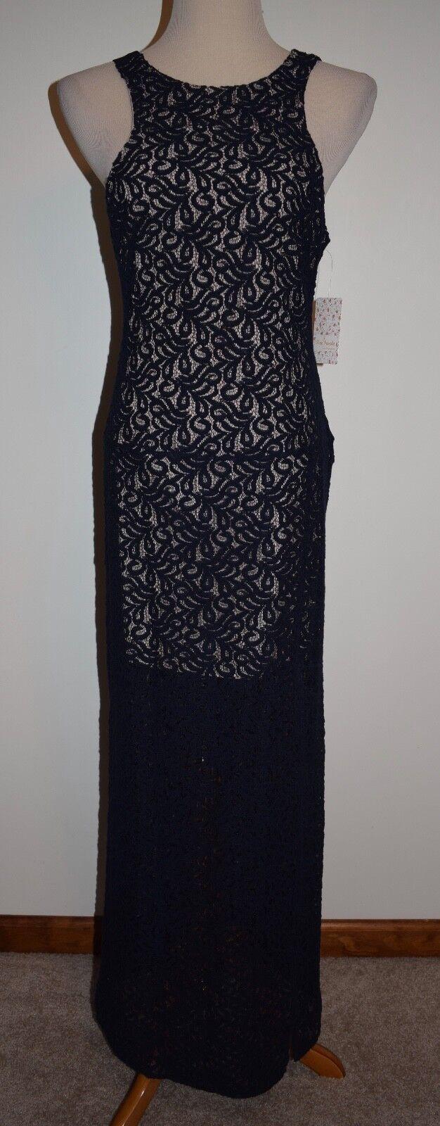 New Free People Sz 6 Long Dress bluee Lace Overlay Sleeveless Maxi Sheath Gown