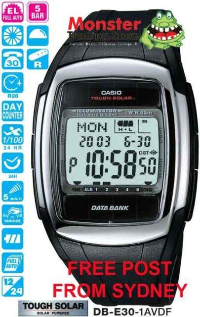 CASIO WATCH SOLAR WORLD TIME DB-E30-1 DB-E30-1A DBE30 12-MNTH WRNTY