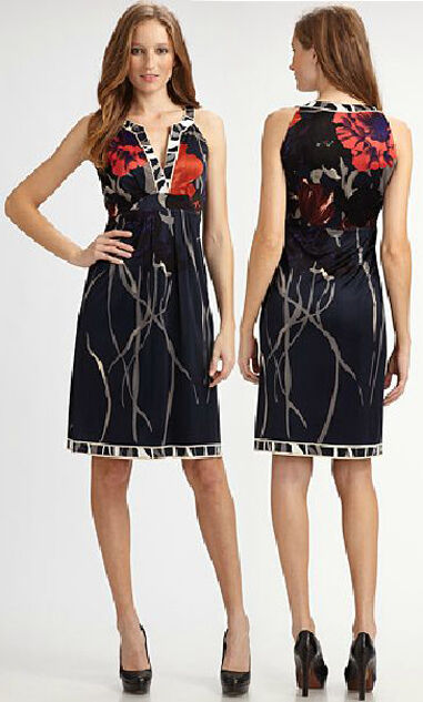 ELIE TAHARI Ivy Spring Navy Floral Viscose Jersey Dress Small S