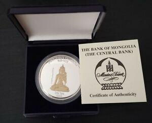 MONGOLIA-SILVER-GILT-PROOF-500-TOGROG-COIN-1999-KM-179-UNDUR-GEGHEN-ZANABAZAR