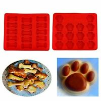 Us Puppy Paws & Bones Silicone Baking Molds-pan-ice Trays Set Of 2 Us Stock Fai