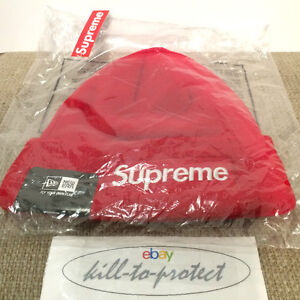 59f9ef1e0fa SUPREME x NEW ERA BOX LOGO BEANIE Red Black Grey Navy One Size Tonel ...